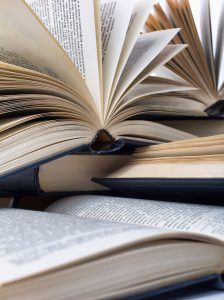 Closeup view of hardcover books