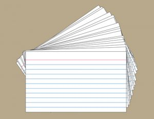 Stack of Index Cards, each card individually grouped