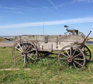 Old wagon by the boot store